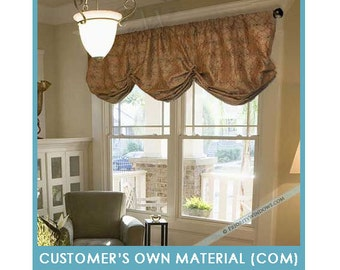 """Customer's Own Material (COM) - Gathered Balloon Valance, 68 to 83"""" Wide"""