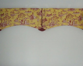 80-Inch DOUBLE WIDE Window Carriage Toile in Yellow Dark Red Valance