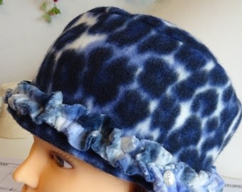 Fleece Leopard Blue Hat