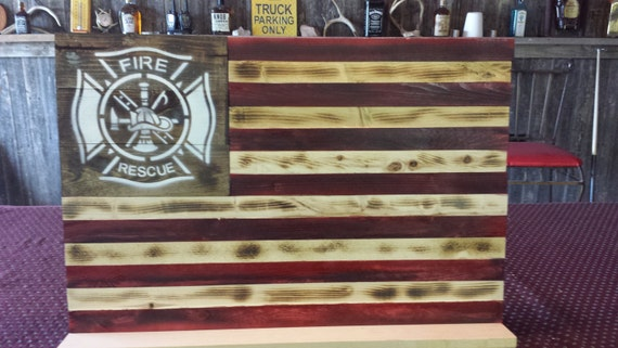 Wooden American Flag Wall Hanging rustic firefighter tribute american flag wall hanging