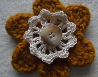 Crochet Flower Corsage Brooch Handcrafted: caramel crochet flower with ivory crochet inner flower and button.