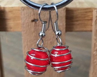 Candy Apple Red Fused Glass Wire Wrapped Earrings