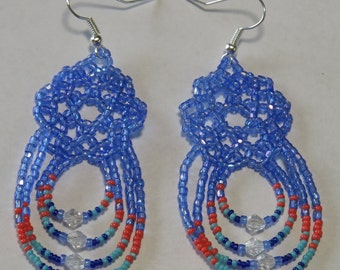 Blue Iridescent Coral Tuquoise Modern Authentic Handmade Native American Beaded Dangle Earrings