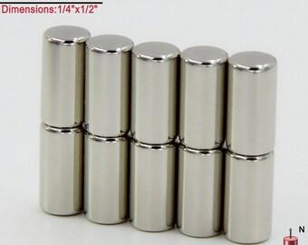 "10-Ct (Free Shipping) Neodymium N45 NdFeb Rod Magnets 1/4"" x 1/2"""