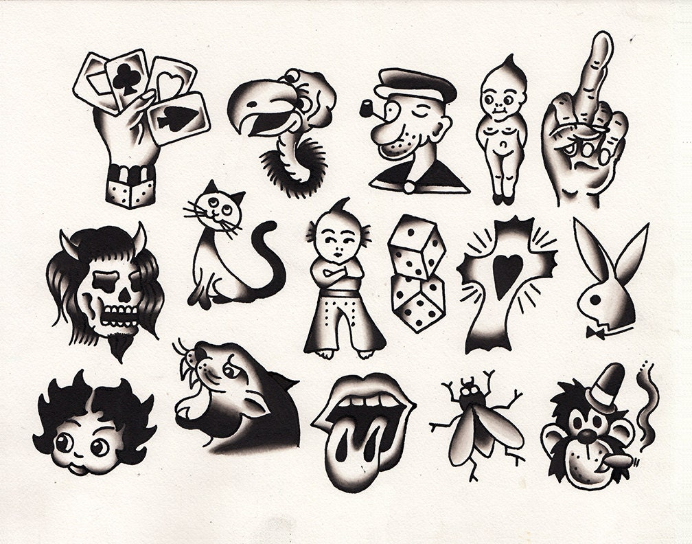 Tattoo flash print kewpie dice cards traditional by for Small tattoo flash