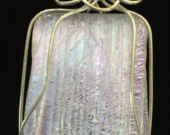Silver Filled Wire Wrapped Black Glass Fused/Kilnformed Pendant with Pink Dichroic on top