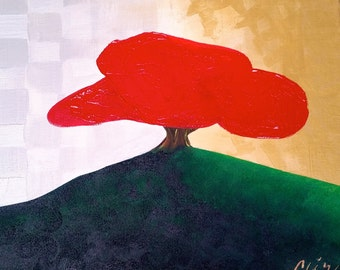 Abstract, Landscape, Contemporary Urban Art Painting, Acyrlic on Canvas, Tree