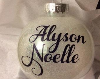 Personalized Custom Name Ornament, Monogram Ornament, Baby Gift, Monogram gift, Gift for mom, gift for kids, baptism gift, wedding gift