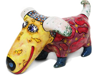 Pet dog Ceramic sculpture , Dog figurines, clay dog, clay figurines, ceramic art, painted pottery, dog lover gift, statuette dog