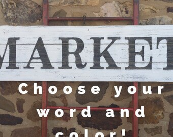 """16 1/2""""x65"""" 2 Color Reclaimed Wood Sign - farmhouse sign - farm sign - distressed - large wood signs"""
