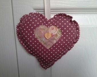 Hanging heart fabric shabby chic
