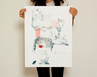 Poster printed silver, light blue and Red