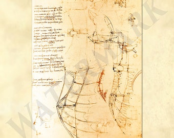 Leonardo da Vinci sketch drawing by his design of a glider / flying machine - wing - sketch - codex - antique repro digital download