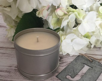 CLEARANCE Vanilla Bean Scented Soy Candle, 8 oz Tin, Hand Poured, Gift For Her, Gift For Him, Handmade Candles, Home Fragrance, SALE
