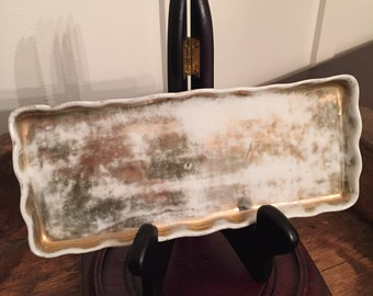 Vintage Victorian Era Gold and White Scalloped Porcelain Vanity Tray
