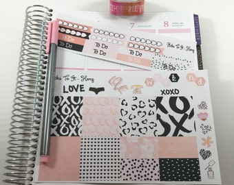 Pink Black Mini Weekly Set ECLP Horz and Vert Planner Stickers - Full Week Set Floral ECLP Mambi Inkwell Press Filofax Kikki K Happy Life