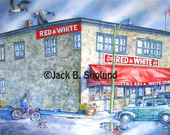 Scottie's Red and White Bigfork Grocery Store Version Two Watercolor Notecard