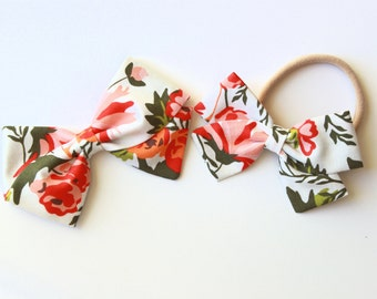 baby girl bow / fabric bows / nylon headband / bows / baby bows / floral bows