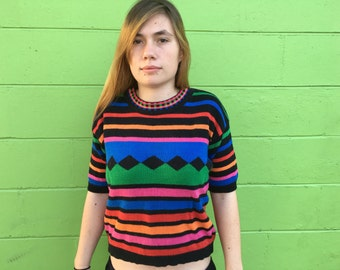 Colorful 80's knitted top