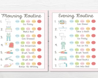 PRINTABLES- WEEKLY (5 Day)- Young Child/Toddler Girls Chore Chart