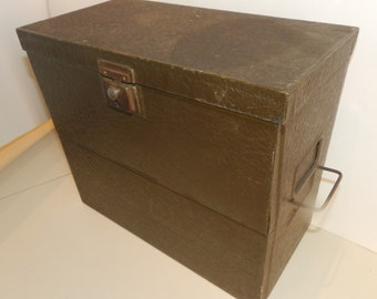 Antique Yawman and Erbe Industrial Green Metal File Box