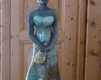 "Sculpture en raku ""la fiancée"""