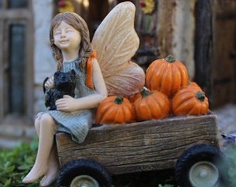 Miniature Fairy Garden Fairy Gretchen Black Cat Wagon Pumpkins Fall Halloween - Free Shipping