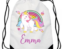 Unicorn | Personalized / Personalised Gym Bag / Backpack, Cute Unicorn Gym Bag Personalised for you... super cute