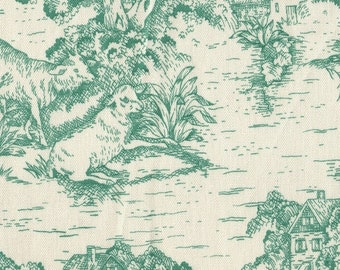 King Comforter, French Country Pool Green Toile, Reversible