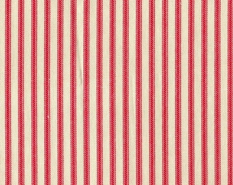Twin Comforter, Cherry Red Ticking Stripe, Reversible