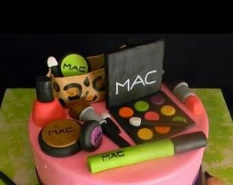 12 Piece Set Mac Makeup Fondant Cake Toppers