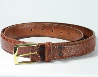Cognac Genuine alligator skin belts