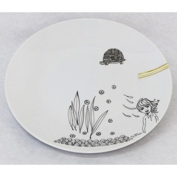 assiette plate en porcelaine peinte la main memory. Black Bedroom Furniture Sets. Home Design Ideas
