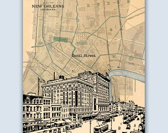 New Orleans Print, New Orleans Art, New Orleans Poster, New Orleans Decor, Wedding Gift, New Orleans Map, New Orleans Gift, Louisiana Decor