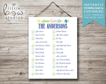 11 x 14 Printable Summer Bucket List, Instant Download, Family Activity Sheet, Customizable PDF, Printable Summer Checklist, Family Wall Art