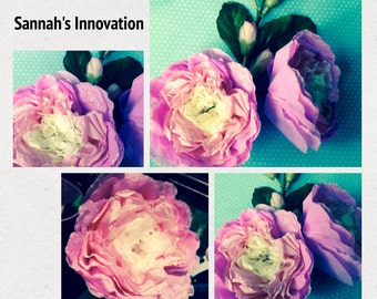 1x Pink Paper Flower branch decoration