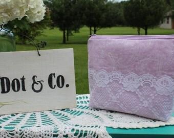 Lavender Paisley & Lace-Zipper Pouch