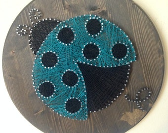 Lady Bug String Art, Made to Order chose your color! Nursery Art/Kids Room Art/Gallery Wall!