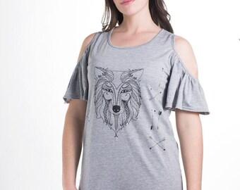 Women's Grey Wolf Butterfly Sleeve Dress Medium, Women's Wolf Tunic Dress, Grey Tunic Dress Medium, BSLO