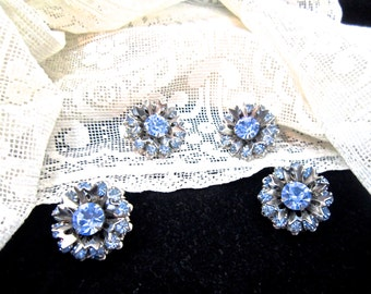 Women's vintage blue crystal clip earrings & brooch set .