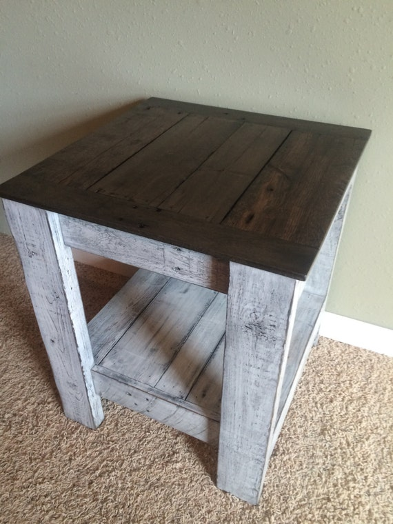 Superb Rustic Two Tone End Table