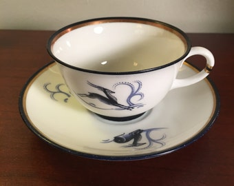 "Bone China Tea Cup and Saucer -Lipkoping ""Gazelle"""