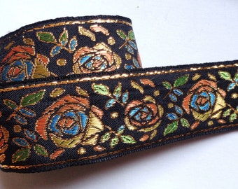 Jacquard Ribbon, 1+1/2 inch wide Black - Gold - Peach - Turq price for 1 yard