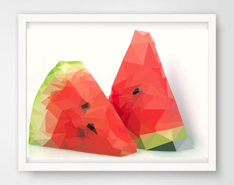 Low Poly ripe melon,Geometric ripe melon,Printable Wall Art,Cool Kids Poster,INSTANT DOWNLOAD