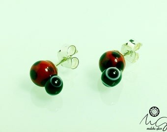 Silver earrings and glass, model Ladybug. Lampwork Beads. Handmade by MALAKAGLASS
