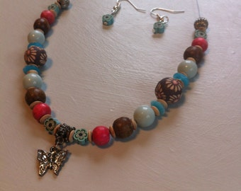 multi,coloured necklace with matching earings
