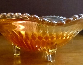 Vintage Amber Carnival Glass Candy Dish