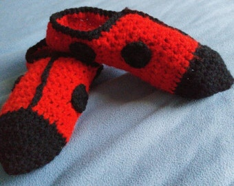 Crochet Lady bug slippers