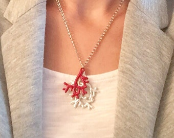 Coral charm necklace, sea charm necklace, charm necklace, silver charm necklace