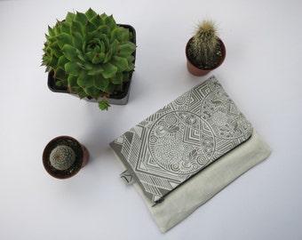Linen Zipper Pouch. Grey Linen Zipper Pouch. Make in England